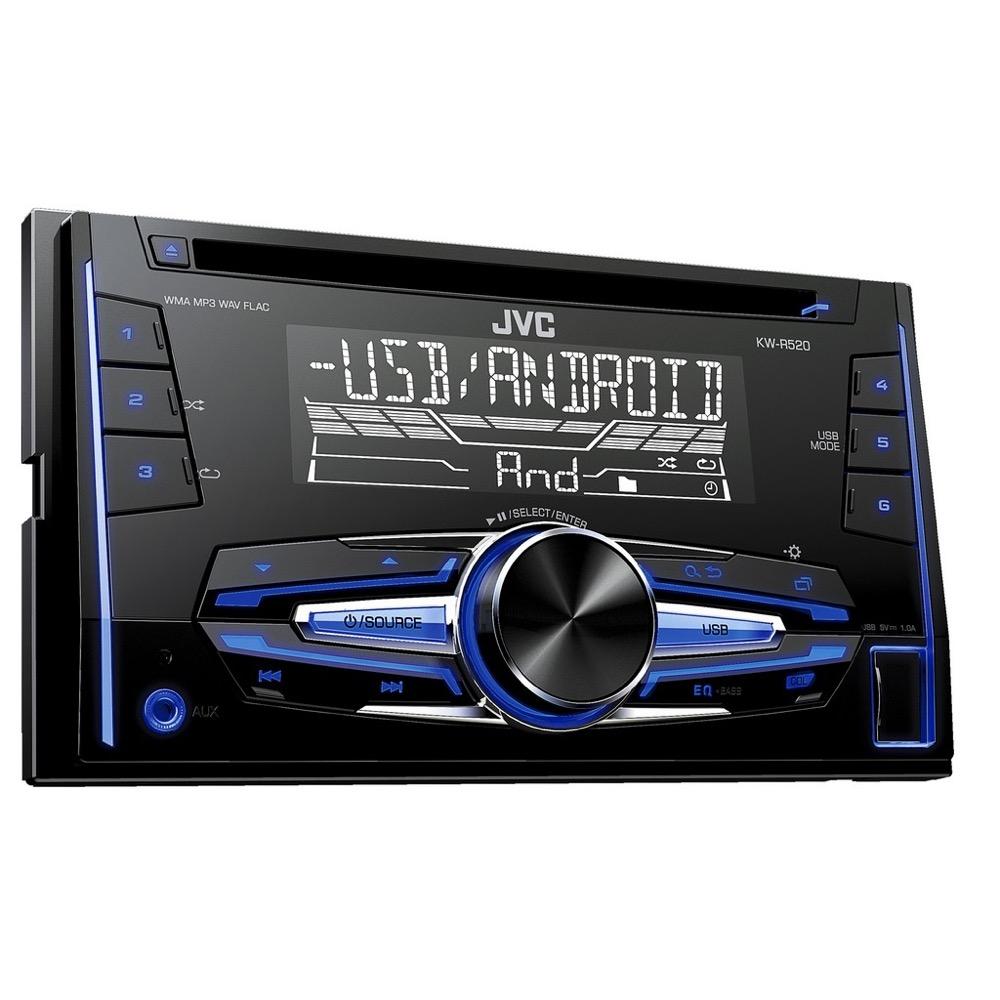 JVC KW-R520 USB CD/MP3 AUX 2 DIN Dupla méretű autórádió