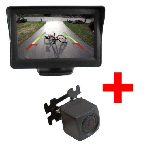 """PT Kis konzolos 170 fokos tolatókamera + PMS TM-02 4.3"""" színes kis LCD monitor szett"""